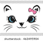 Stock vector cute baby cat face with bow on white isolated background illustration vector 463495904