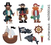 set of cartoon flat pirate with ... | Shutterstock .eps vector #463500161