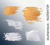 set gold and silver smear paint ... | Shutterstock .eps vector #463504739