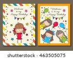 vector illustration of a happy... | Shutterstock .eps vector #463505075