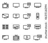 vector line tv icon set on... | Shutterstock .eps vector #463516094