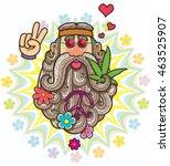 cartoon illustration of hippie. | Shutterstock .eps vector #463525907