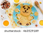 Bear Shaped Pancakes With Hone...