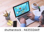 scholarship concept on laptop... | Shutterstock . vector #463532669