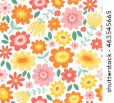 vector floral pattern with... | Shutterstock .eps vector #463545665