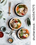 overhead view of boat noodles... | Shutterstock . vector #463547975