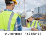 view of a engineer and worker... | Shutterstock . vector #463550489