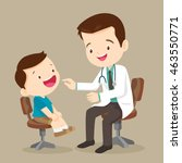 doctor is seeing a small boy... | Shutterstock .eps vector #463550771