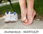 painful bruised female foot on... | Shutterstock . vector #463551629