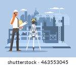 foreman on construction flat... | Shutterstock .eps vector #463553045