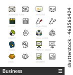 black and color outline icons ... | Shutterstock .eps vector #463561424