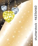 Golden Diamond or Crystal Heart Background with stars. There is space for text or image. - stock vector