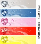 Vector Illustration of 5 Diamond or Crystal Heart Banners. - stock vector