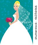 A beautiful blond woman on her wedding day. - stock vector