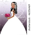 A beautiful biracial woman on her wedding day. - stock vector