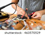 connecting cable on flying drone | Shutterstock . vector #463570529