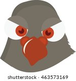 Pigeon head vector. Vector illustration of cute funny birds in cartoon style.  - stock vector