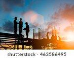 silhouette engineer standing... | Shutterstock . vector #463586495