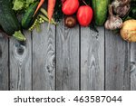 young spring vegetables on... | Shutterstock . vector #463587044