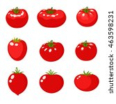 set tomato in a cartoon style... | Shutterstock .eps vector #463598231