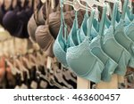 row of bras hanging in lingerie ... | Shutterstock . vector #463600457