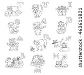 signs of the zodiac in the form ... | Shutterstock . vector #463611821