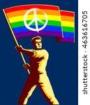 pacifist activist man holding... | Shutterstock .eps vector #463616705