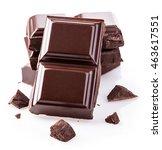 dark chocolate bars isolated on ... | Shutterstock . vector #463617551