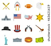 flat usa icons set. universal...