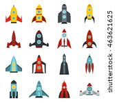 flat rocket icons set....