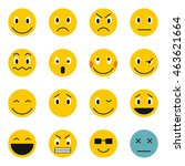 flat emoticon icons set.... | Shutterstock .eps vector #463621664