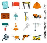flat architecture icons set....