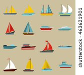 flat ship icons set. universal...
