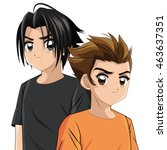 boy anime male manga cartoon... | Shutterstock .eps vector #463637351