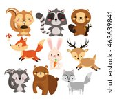 woodland animal concept... | Shutterstock .eps vector #463639841