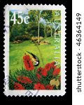 Small photo of AUSTRALIA - CIRCA 2000: A stamp printed in Australia shows Eastern Spinebill - Acanthorhynchus tenuirostris in the garden, circa 2000