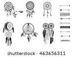 set of dreamcatcher. isolated... | Shutterstock .eps vector #463656311