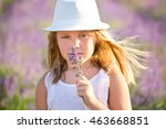 blond girl with a basket of... | Shutterstock . vector #463668851