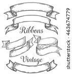 ribbon retro vintage hand drawn ...   Shutterstock .eps vector #463674779