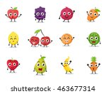 cartoon fruits characters with... | Shutterstock . vector #463677314