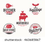 set of butchery black and red... | Shutterstock .eps vector #463685867