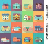 set houses  buildings  and... | Shutterstock . vector #463688885
