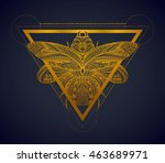 black and gold stylized scarab  ... | Shutterstock .eps vector #463689971