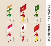 set of isometric 3d people with ... | Shutterstock .eps vector #463702919