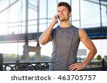 handsome young man in sports... | Shutterstock . vector #463705757