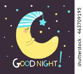 Cute Print Of Sleeping Moon An...