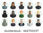 vector set of avatar flat icons ... | Shutterstock .eps vector #463743197