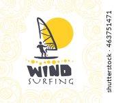 vector flat wind surfing logo... | Shutterstock .eps vector #463751471