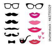 lips and mustaches vector set | Shutterstock .eps vector #463755329