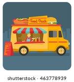 a food truck selling street... | Shutterstock .eps vector #463778939